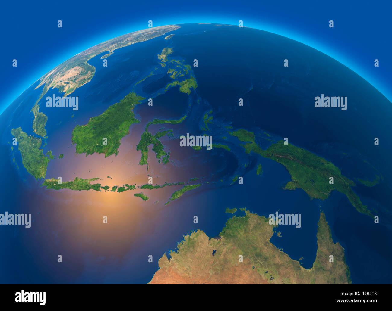 Indonesien Karte Physisch.Physische Karte Der Welt Satelliten Ansicht Von Sudost