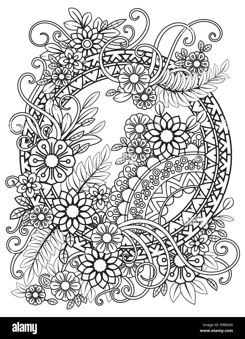 Nach Färbung mit Blumen Muster. Schwarze und weiße Blumen Mandala