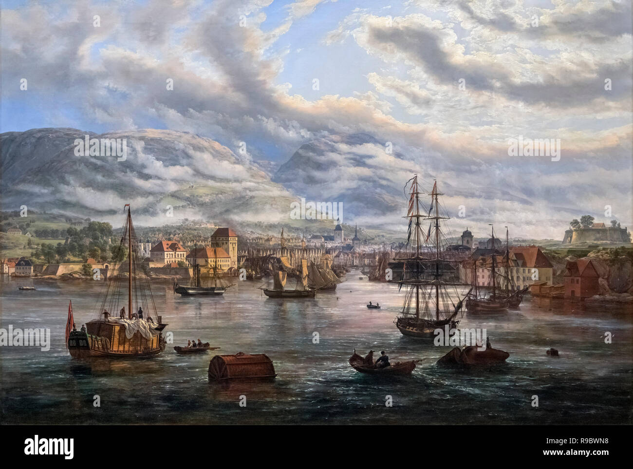 Blick auf Bergen Hafen mit J C Dahl (Johan Christian Dahl Claussen: 1788-1857), Öl auf Leinwand, 1834 Stockbild