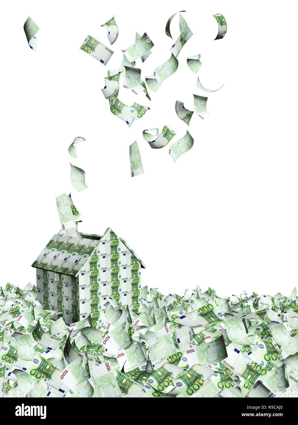Haus Von Euro Banknoten Und Viele Fliegen Euro Banknoten Auf