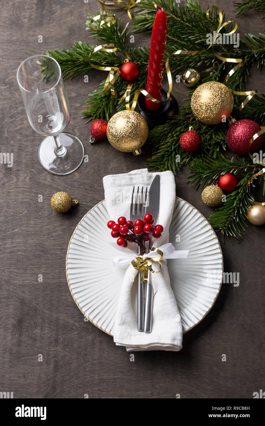 Weihnachten Tischdekoration Mit Teller Messer Und Gabel Serviette