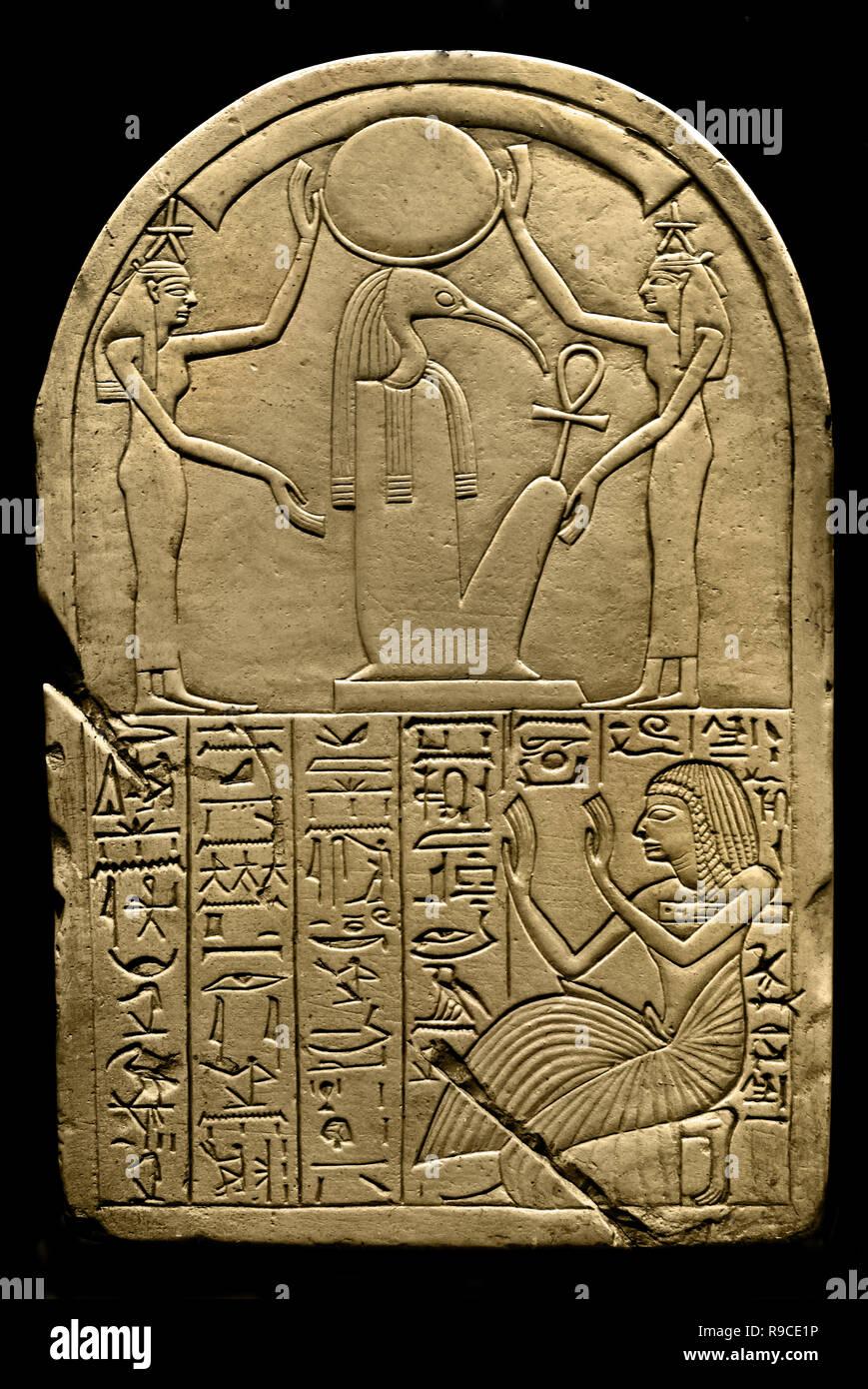Thoth und die Sterne am Himmel. (Stele aus dem Verfasser der Stellungnahme für den Mond und die Sterne Gottes.) von Deir el Medina 19. Dynastie (1292-1191 v. Chr.), Ägypten, Ägyptische. Stockbild