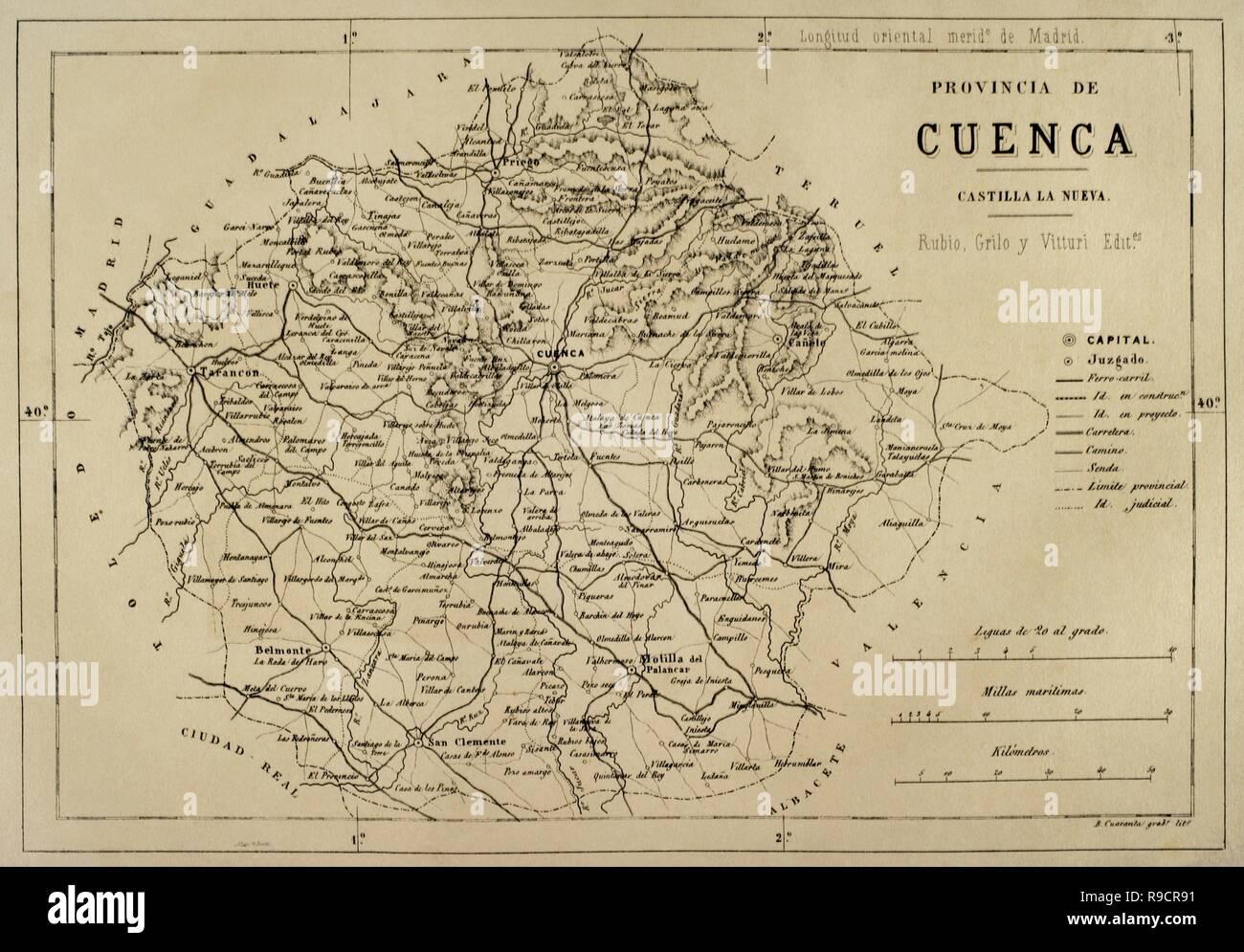 Mapa Provincia De Cuenca España.Mapa De La Provincia De Cuenca Cronica De Espana Historia