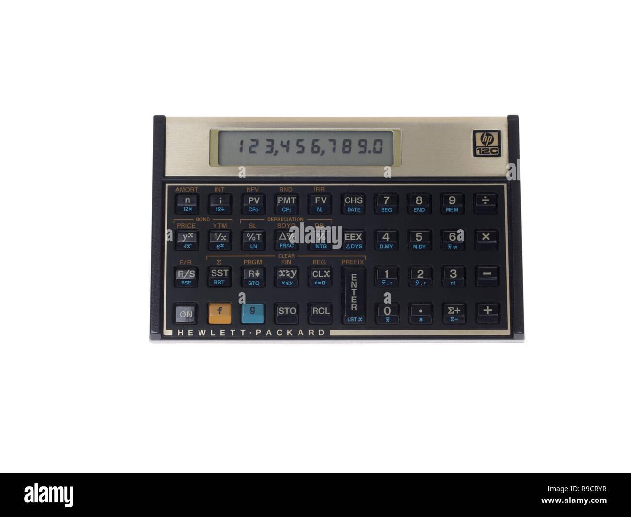 HP-12 C Programmierbarer Finanztaschenrechner 1981 Voyager von Hewlett-Packard Stockbild