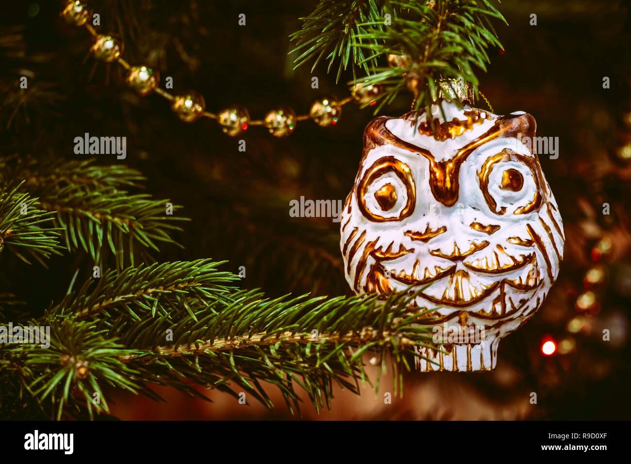 Retro Christbaumschmuck Eule Oder Uhu Weihnachtsbaum Spielzeug In