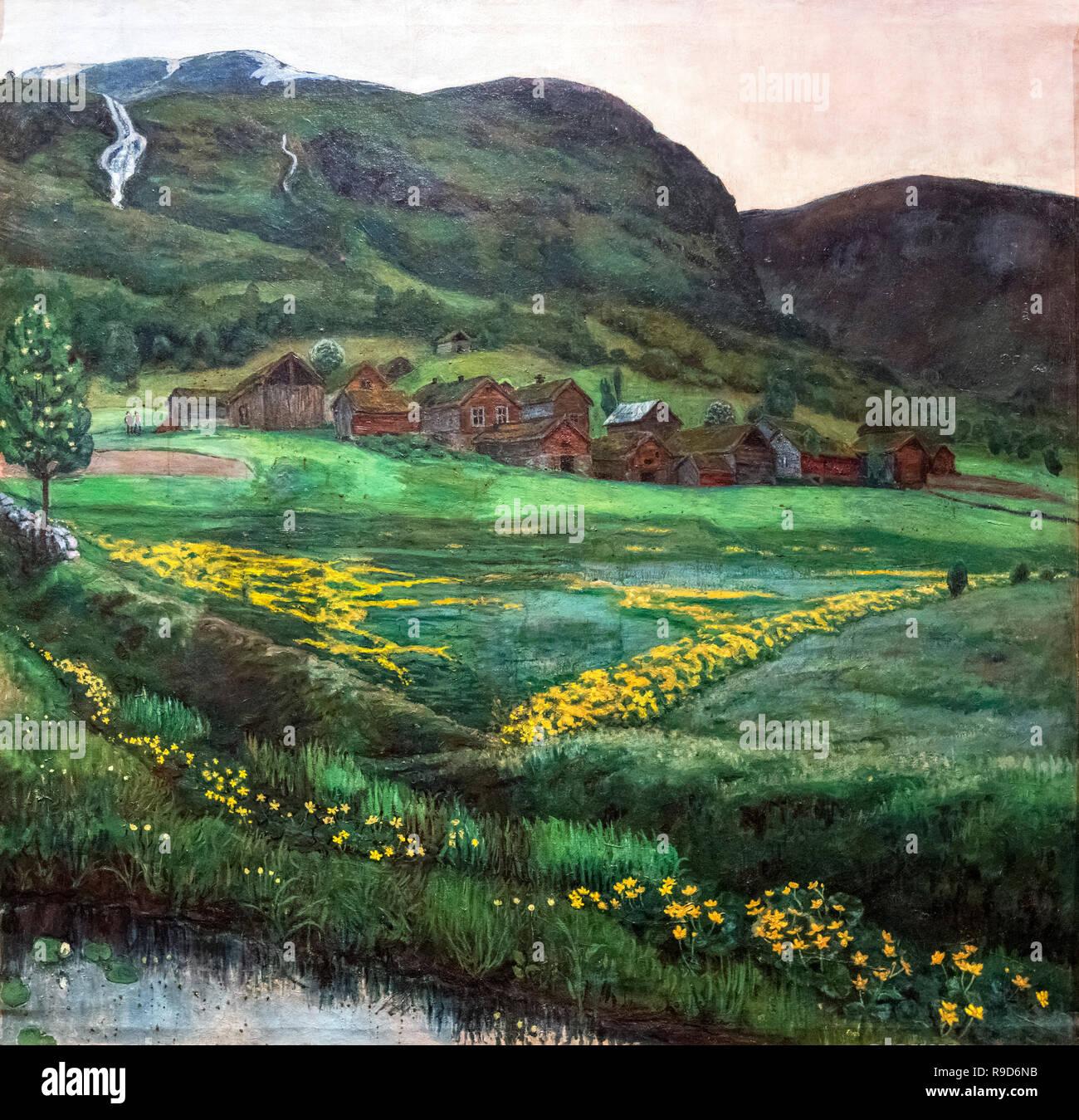 Eine klare Nacht im Juni von Nikolai Astrup (1880-1928), Öl auf Leinwand, 1911 Stockfoto