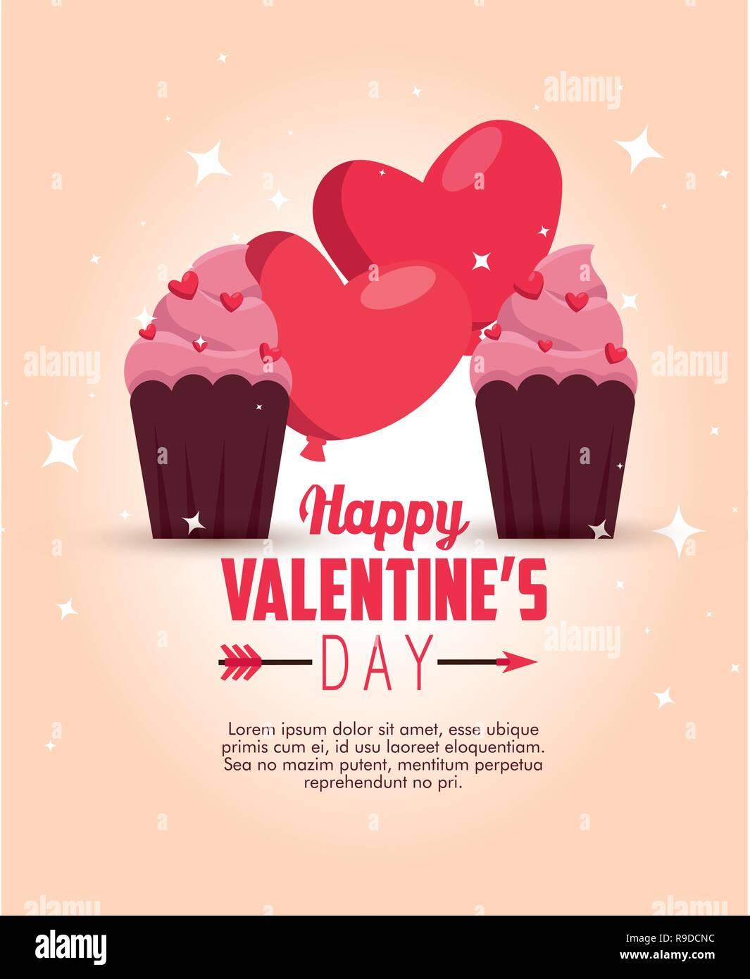 Herzen Luftballons Mit Muffins Valentinstag Zu Feiern Vektor