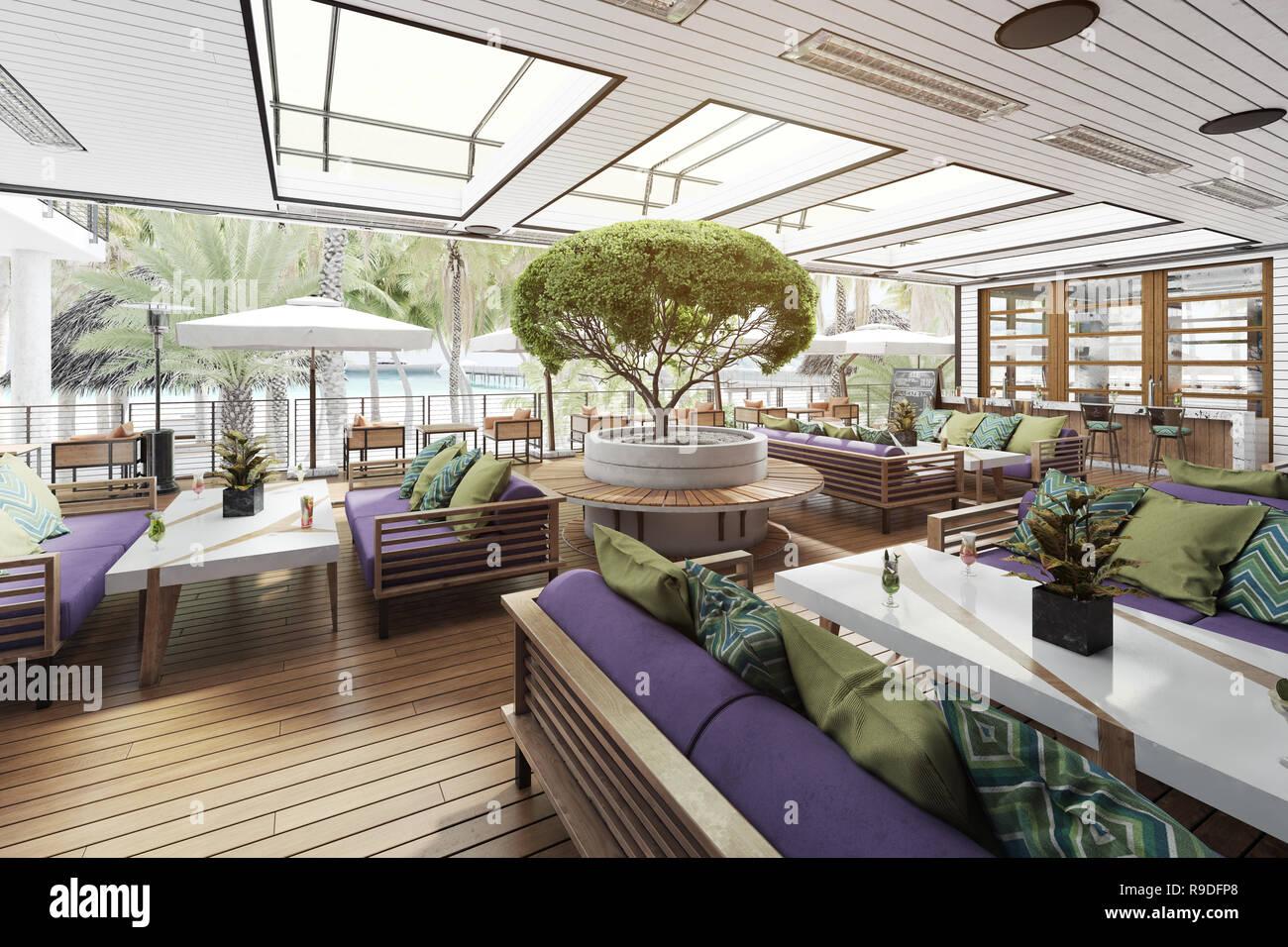 Moderne terrasse Cafe am Strand. 3D-rendering Design Konzept ...