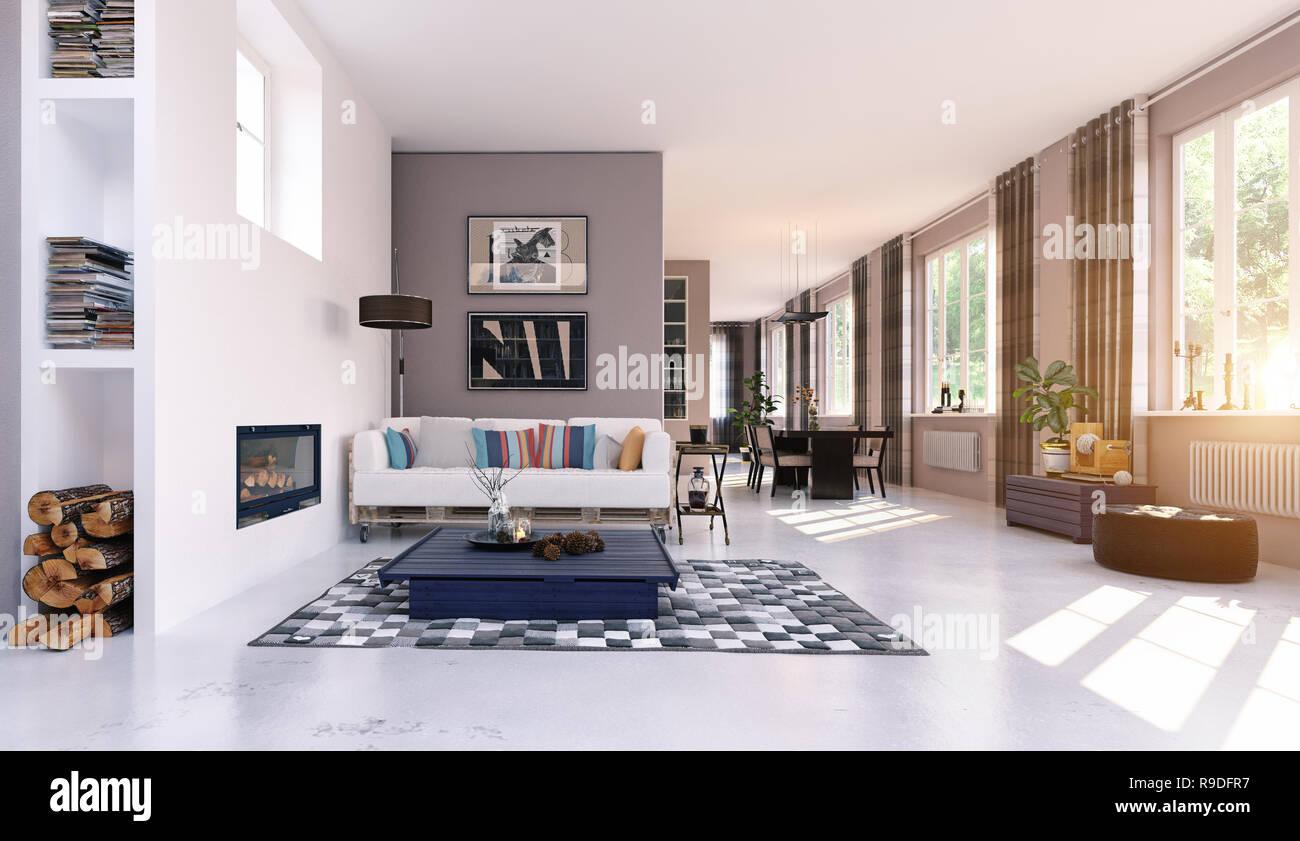 Modernes Wohnen Interieur. 3D Rendering Konzept Design