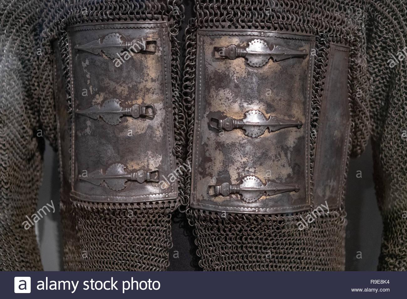 Eine antike hybrid Rüstung. Metallische Platten und Mail, die militärische Objekt bot Schutz und Flexibilität zu Soldaten und Krieger der pa Stockbild