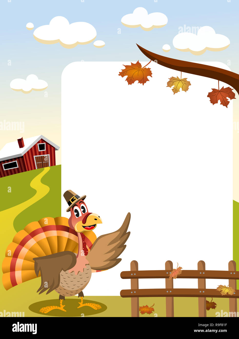 Cartoon thanksgiving Truthahn mit pilgrim Hut in der Landschaft zeigt leere Rahmen Stockbild