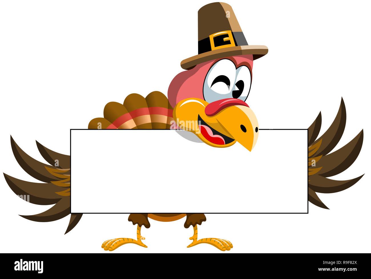 Cartoon Thanksgiving Truthahn Holding leer Banner isoliert Stockbild