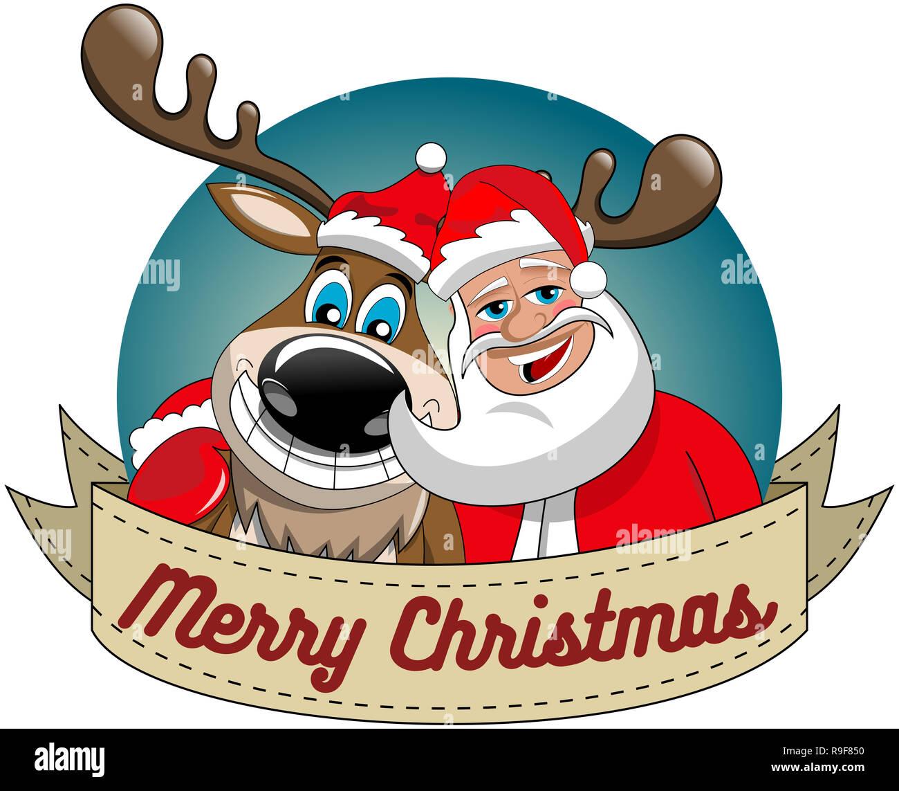 Lustige Bilder Frohe Weihnachten.Cartoon Lustige Rentier Und Weihnachtsmann Umarmen Und Wünschen