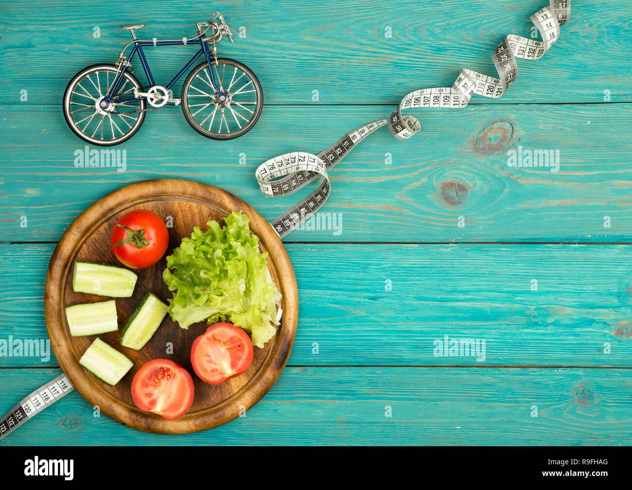 Sport Und Diat Konzept Fahrrad Modell Frisches Gemuse Und