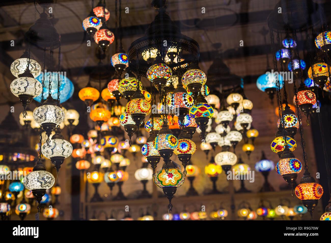 Bunte türkische Mosaik Lampen orientalische traditionelle Licht ...