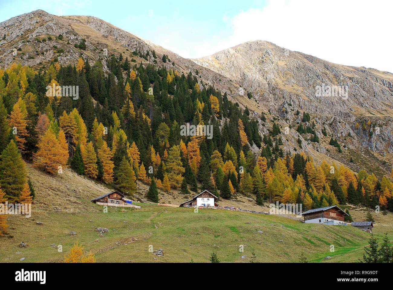 """Wandern im """"hirzer"""" Bereich mit beeindruckenden Herbstlandschaft, Sarntaler Alpen, Südtirol, Italien. Im Vordergrund die Mountain Inn bin andalm' Stockbild"""