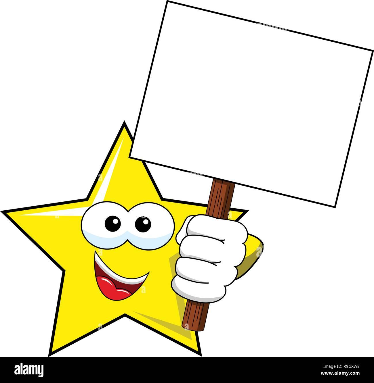 Cartoon Star Holding leer banner Isolated On White Stockbild