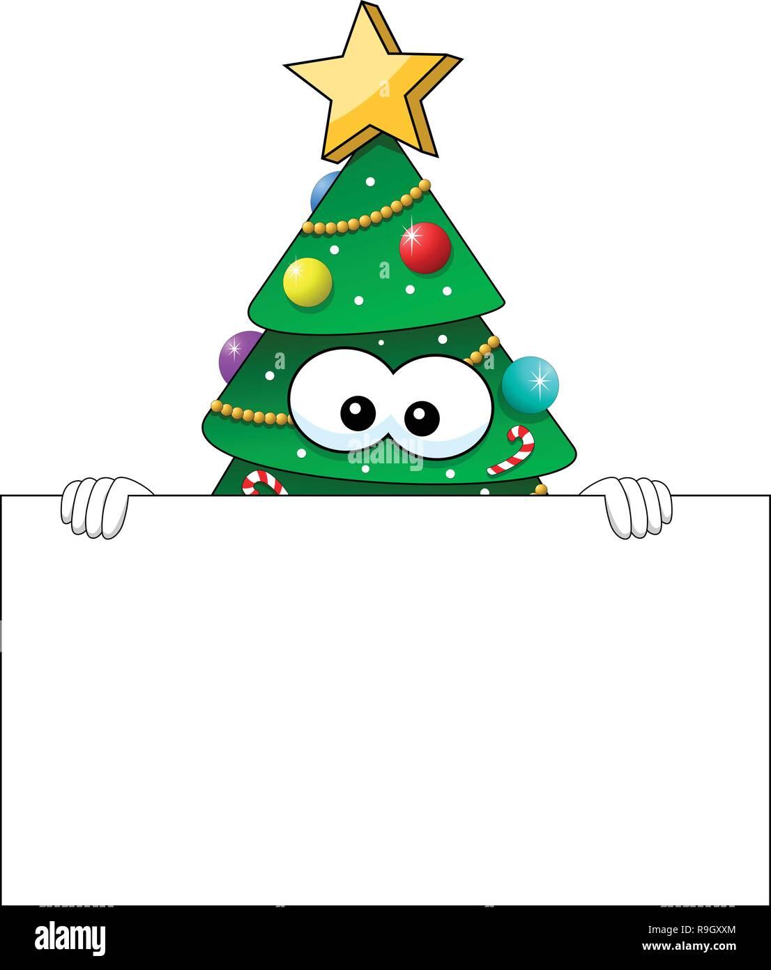Weihnachten Weihnachtsbaum Maskottchen Charakter hinter leeren banner Isolated On White Stockbild