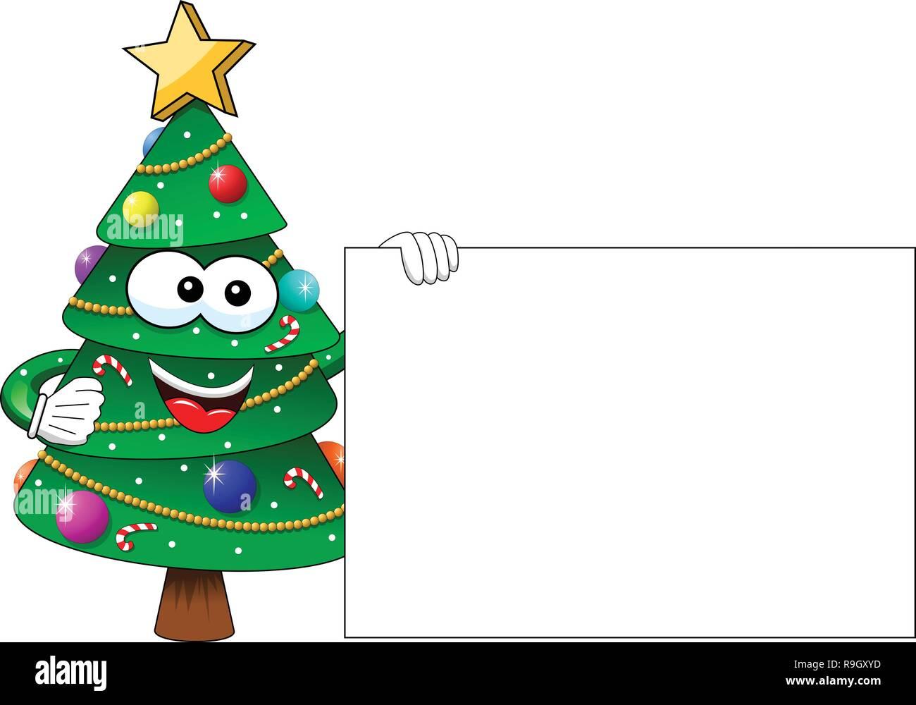 Weihnachten oder Weihnachtsbaum Maskottchen Charakter eine leere Karte isoliert Stockbild