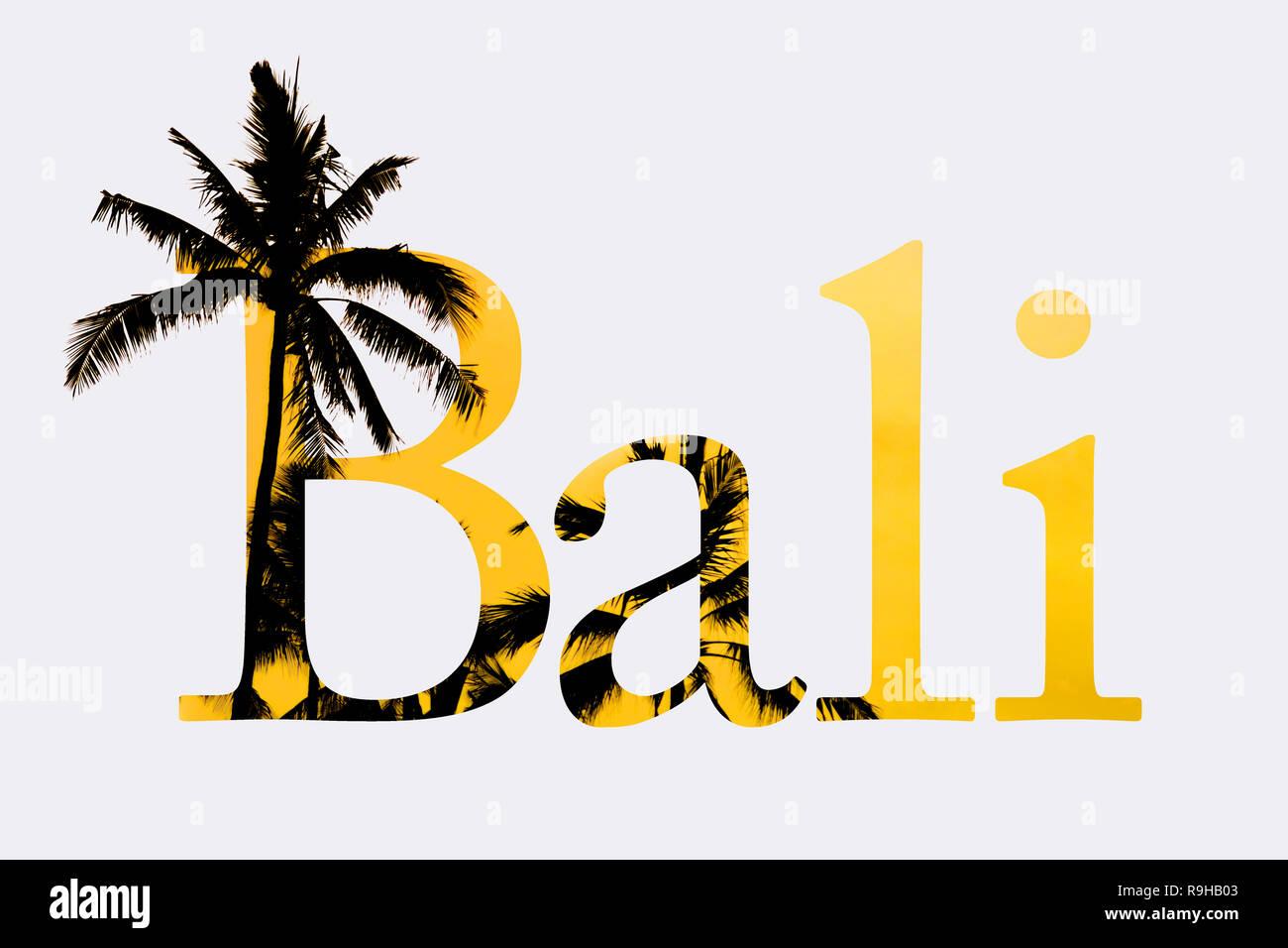 Erläuternde Text Design mit dem Wort Bali und Palmen, auf weißem Hintergrund. Nützliche vordefinierte Text Header Stockbild