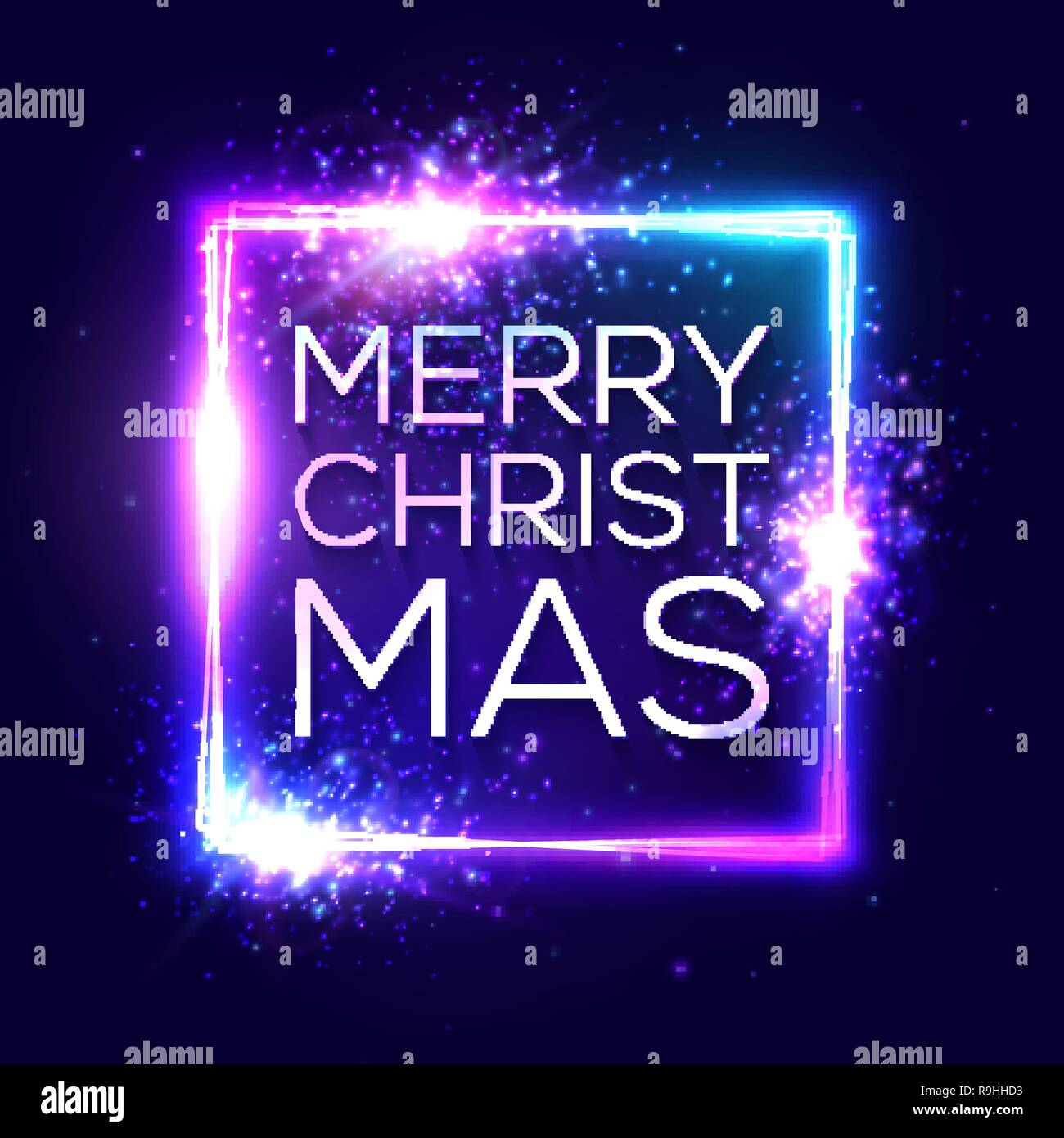 Frohe Weihnachten Schriftzug Beleuchtet.Frohe Weihnachten Text Auf Blauem Neonlicht Dekorativer Hintergrund