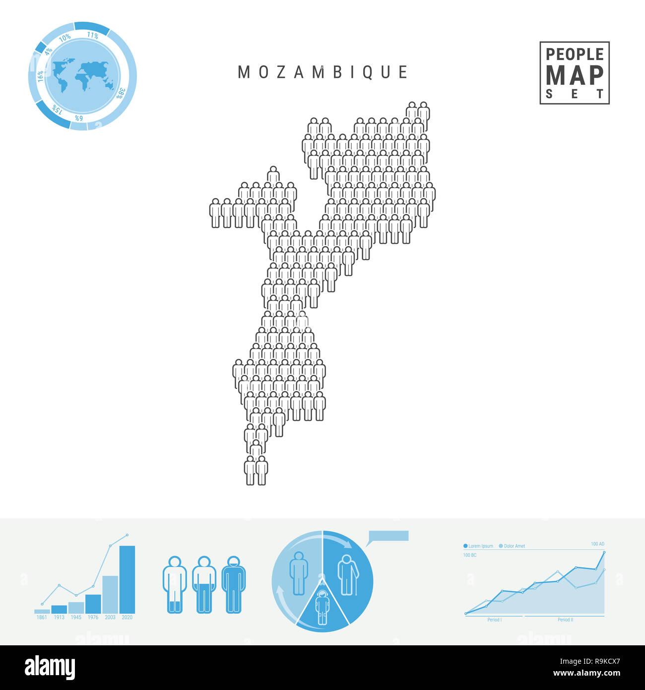 Mosambik Karte.Mosambik Leute Auf Das Symbol Karte Leute In Der Form Einer Karte