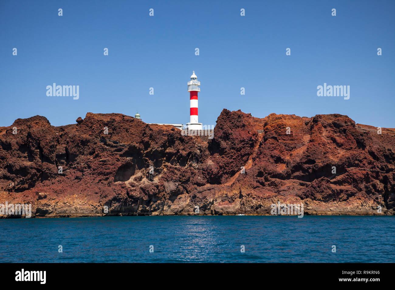 Leuchtturm Punta de Teno, Teneriffa, Kanarische Inseln, Spanien. Stockbild