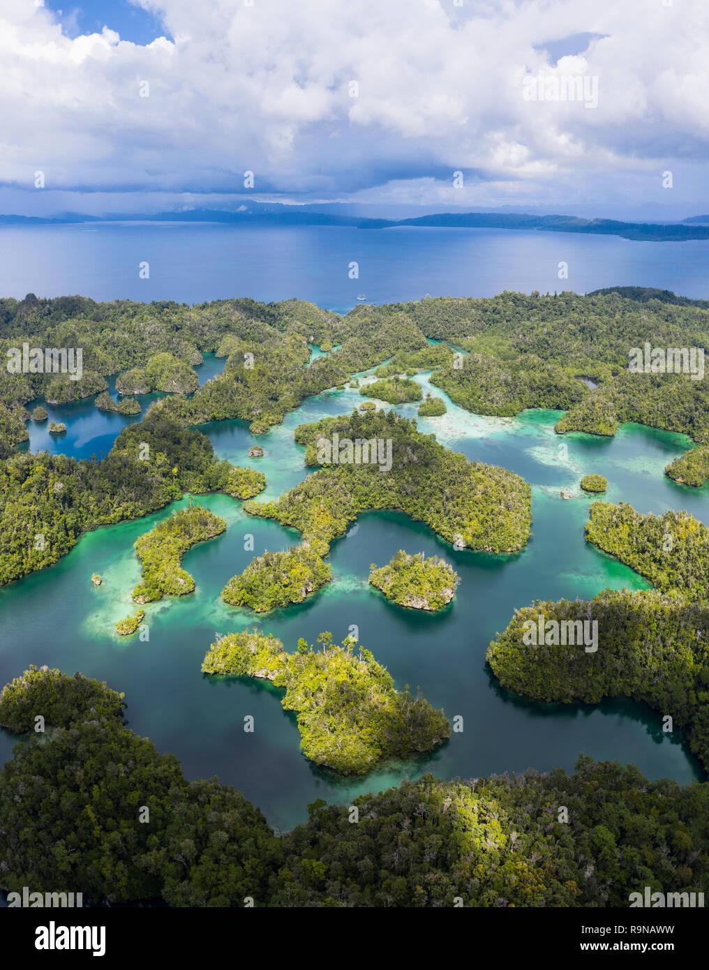 Remote Kalkstein Inseln in Raja Ampat, Indonesien, bilden ein Labyrinth in einer Lagune. Diese artenreichen Region ist als Herz der Korallen Dreieck bekannt. Stockfoto