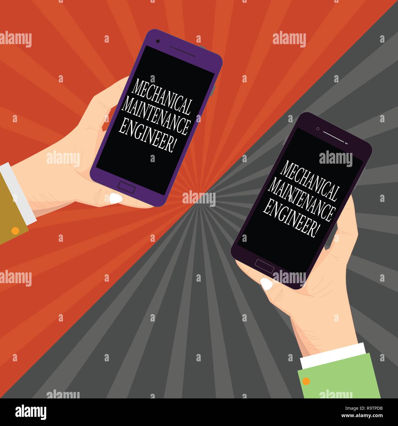 Text Zeichen zeigen, Wartung der Mechanik Ingenieur. Konzeptionelle Foto verantwortlich für Maschinen Effizienz Zwei Hu-Analyse Hände Jeweils leere Smart Stockbild