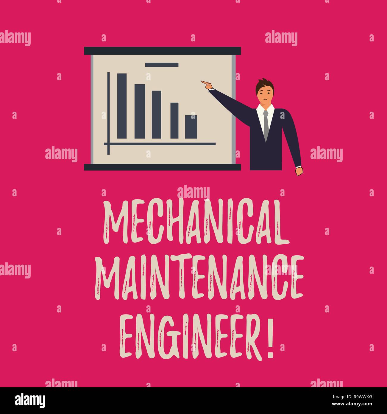 Handschrift Text schreiben Mechanische Instandhalter. Begriff Sinne verantwortlich für Maschinen Effizienz Mann im Anzug Stand, die auf eine Stockbild