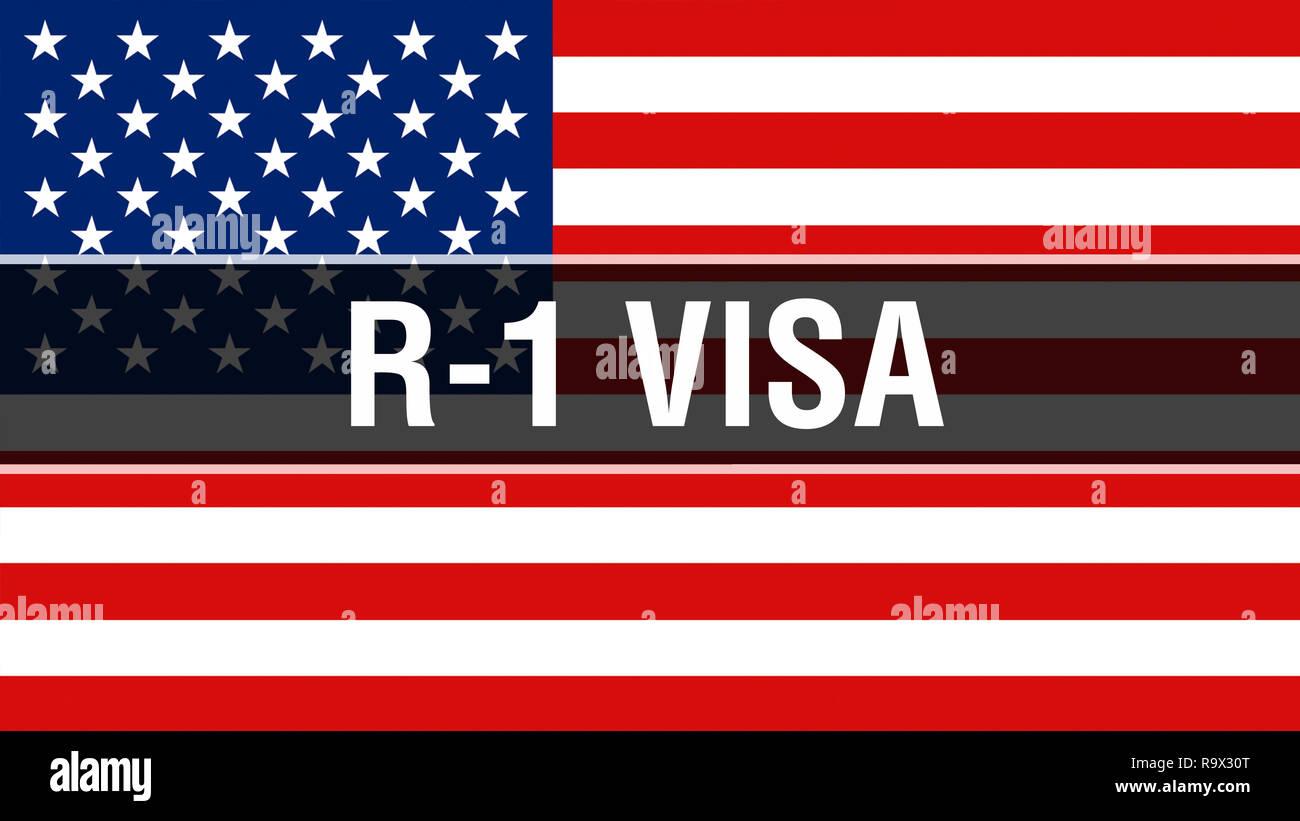 R 1 Visa Auf Dem Usa Flagge Im Hintergrund 3d Rendering