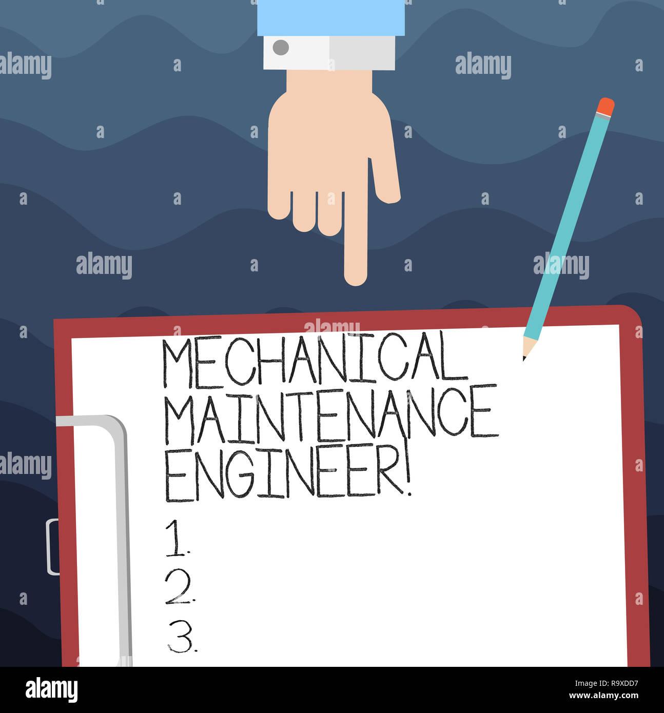 Text Zeichen zeigen, Wartung der Mechanik Ingenieur. Konzeptionelle Foto verantwortlich für Maschinen Effizienz Hu Analyse Hand nach unten in die Zwischenablage wi Stockbild