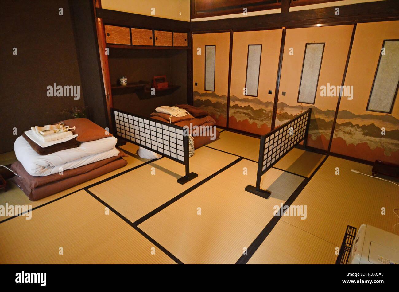 Traditionelle Japanische Schlafzimmer Mit Tatami Matten