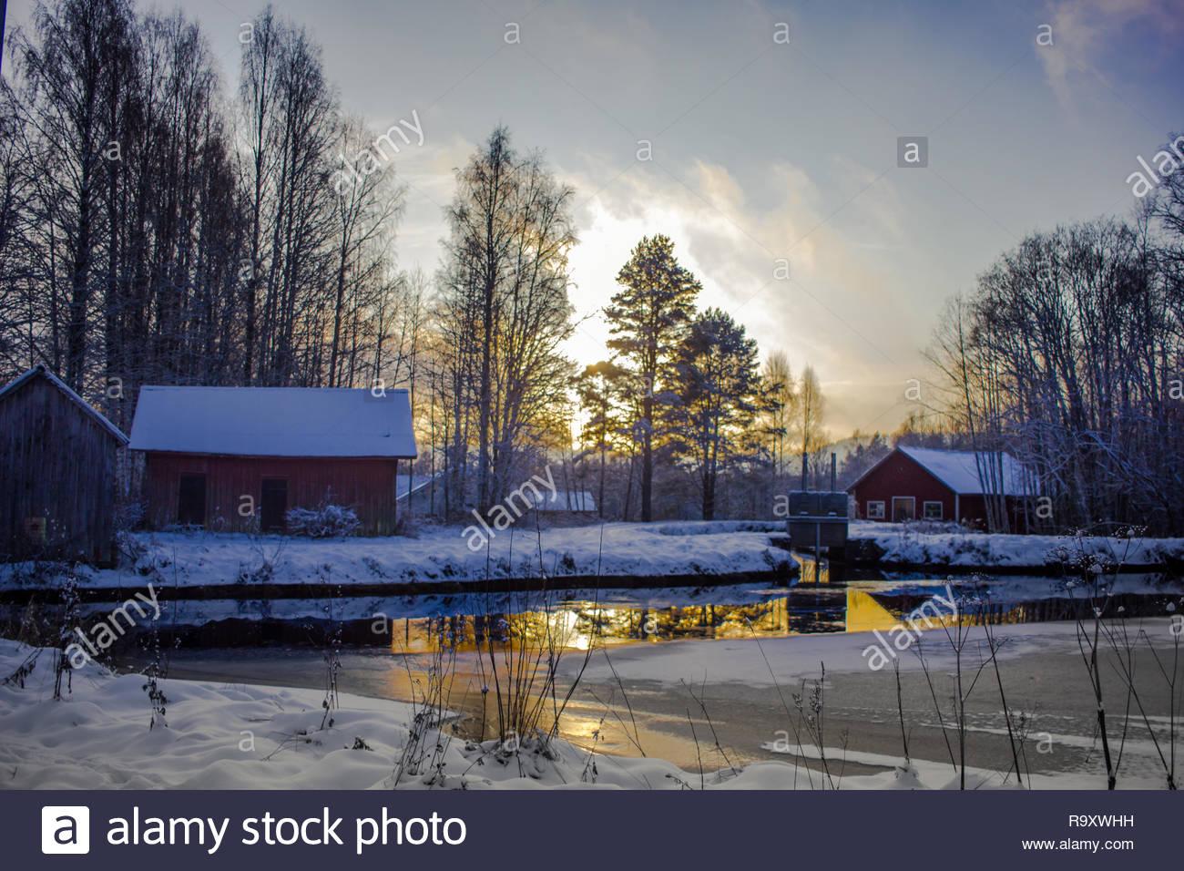Winter Impressionen in Schweden Stockbild