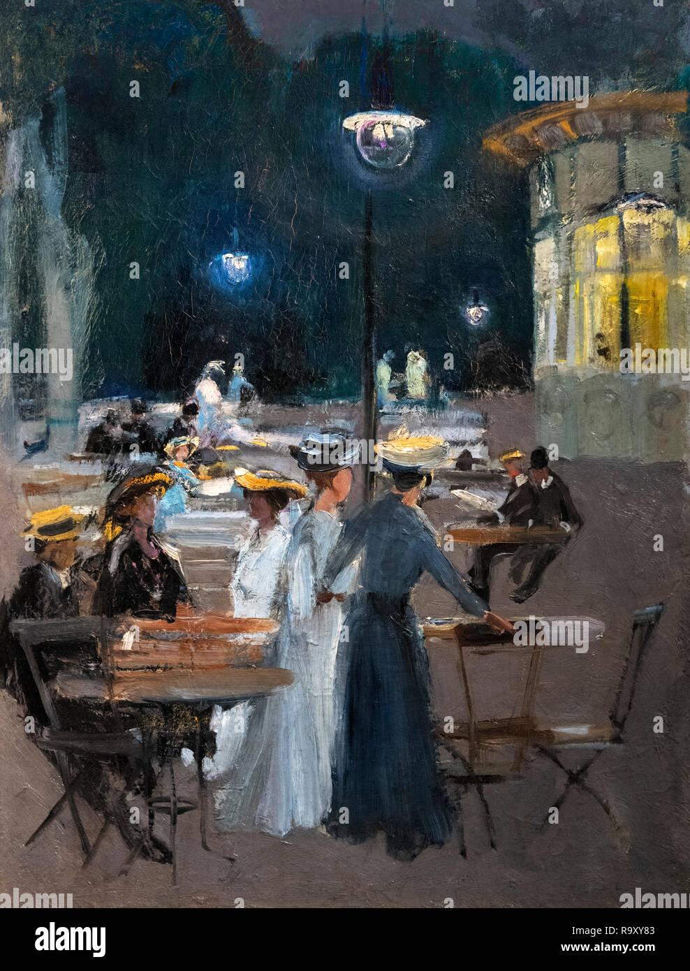 Pariser Cafe bei Nacht von Ludwik de Laveaux (1868-1894), Öl auf Leinwand, nach 1890 Stockbild