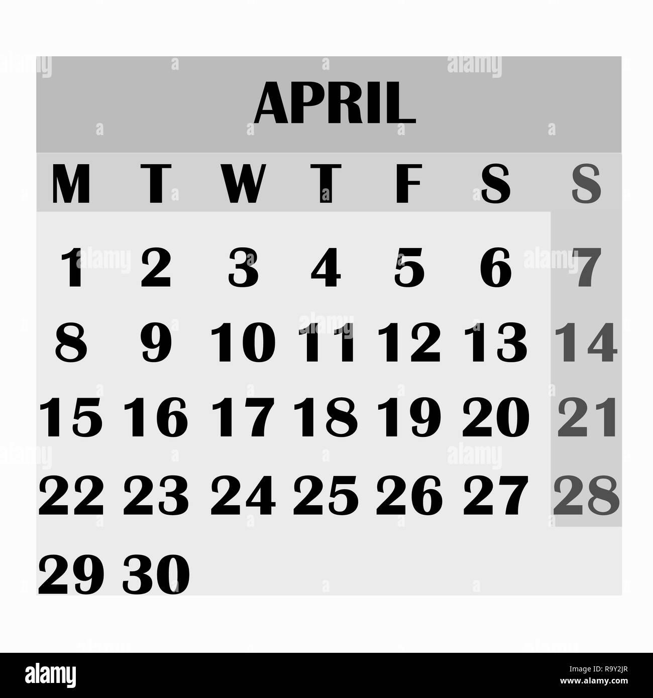 kalender design monat april 2019 2019 kalender einfaches. Black Bedroom Furniture Sets. Home Design Ideas