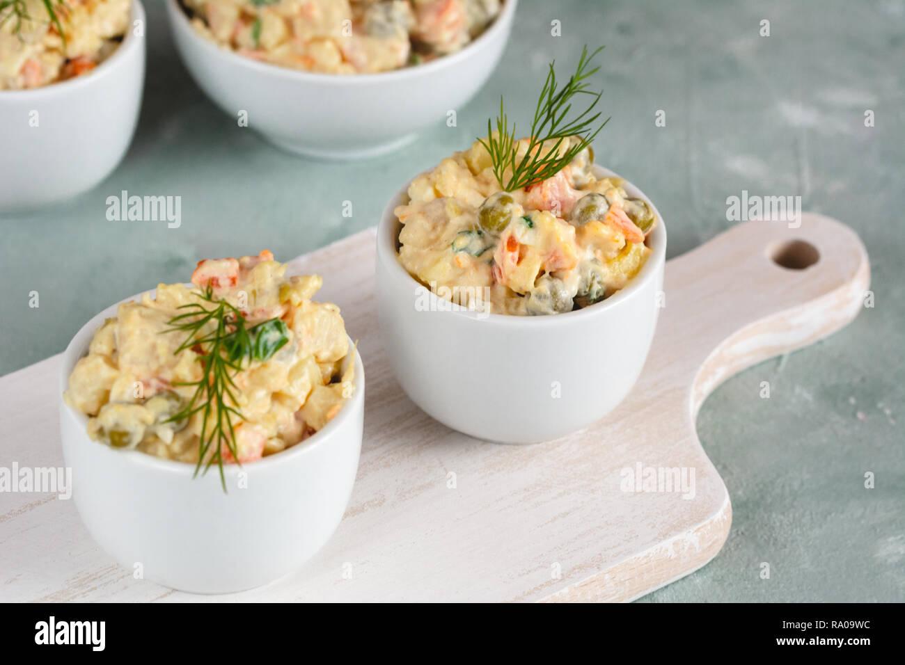 Traditionelle Polnische Salat Mit Gekochtem Gemüse Und Mayonnaise