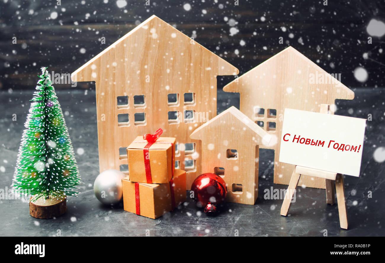 Was Heißt Frohe Weihnachten Auf Russisch.Weihnachtsbaum Holzhäuser Und Geschenke Mit Frohe Weihnachten Und