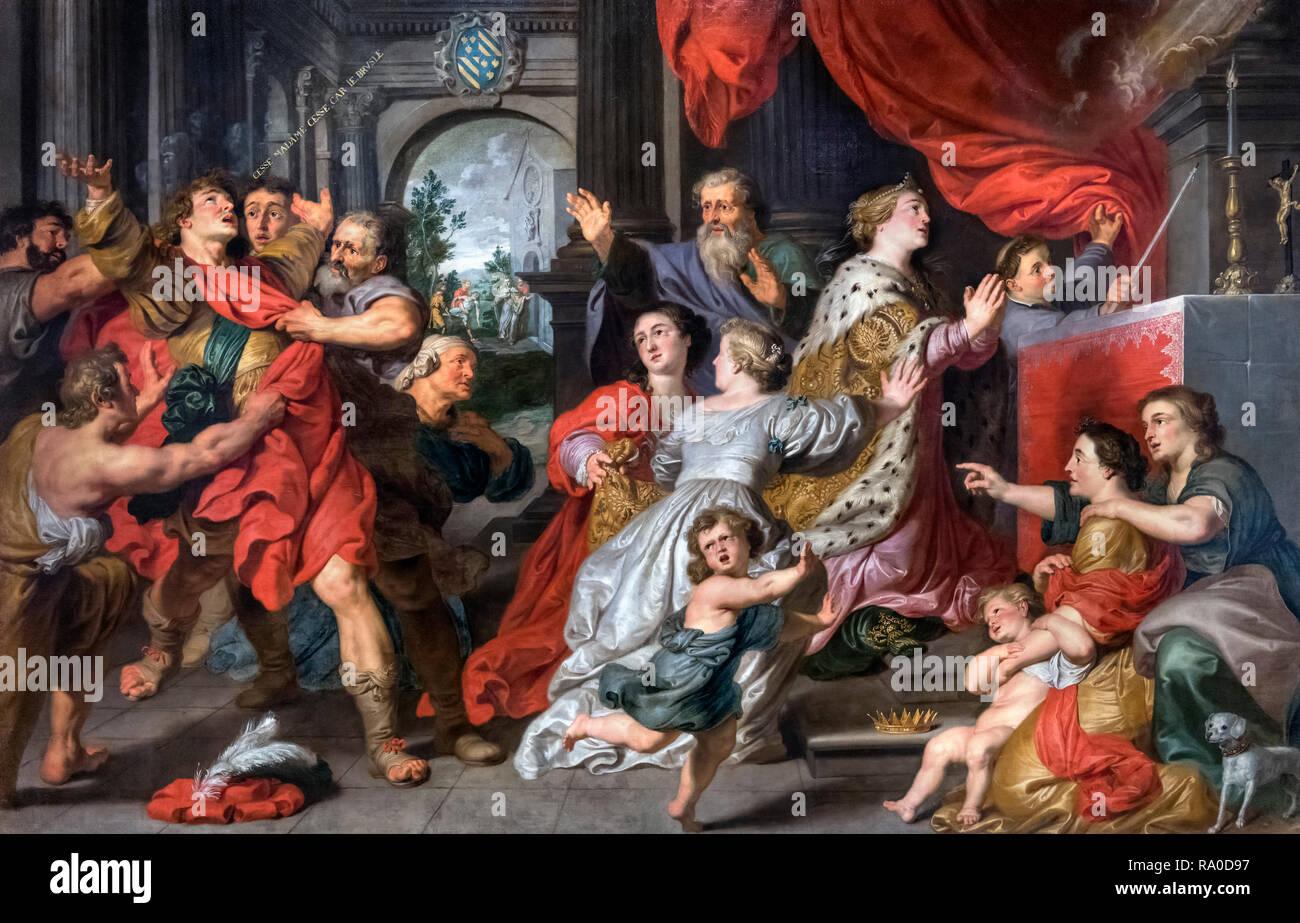 """Die heilige Elisabeth von Ungarn Beten für die Umwandlung von Berthold von leinbach von Pieter van Lint (1609 â ? """"1690), Öl auf Leinwand, 1633 Stockbild"""