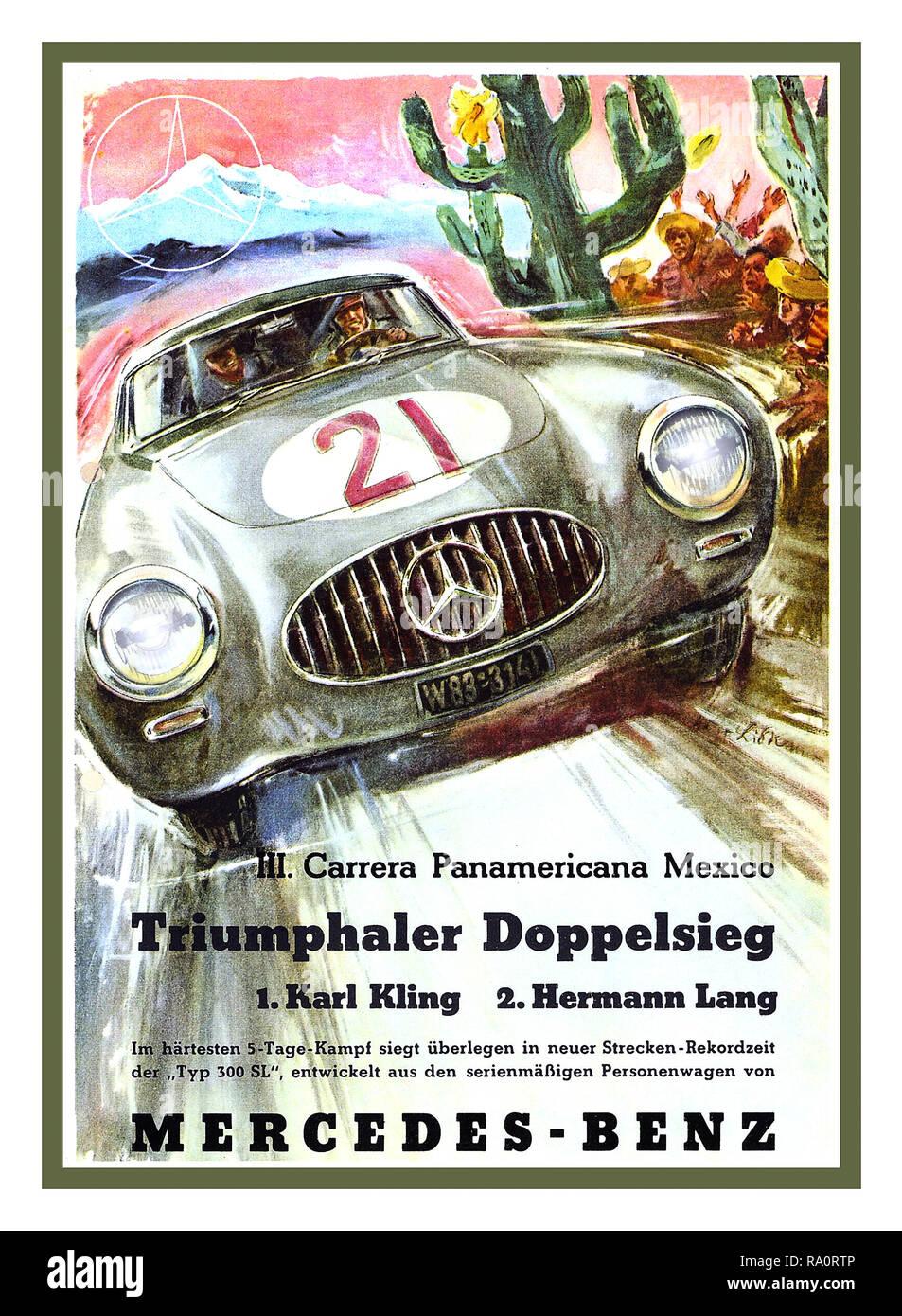 """Vintage Motorsport Poster' TRIUMPHALER DOPPELSIEG"""" 1952 Carrera Panamericana Mexico mit Karl Kling auf den ersten Platz und Hermann Lang im zweiten Platz fahren Mercedes 300 SL-Sportwagen W124 ein doppelter Sieg für den sehr gut organisierten Mercedes Sports Team Stockbild"""
