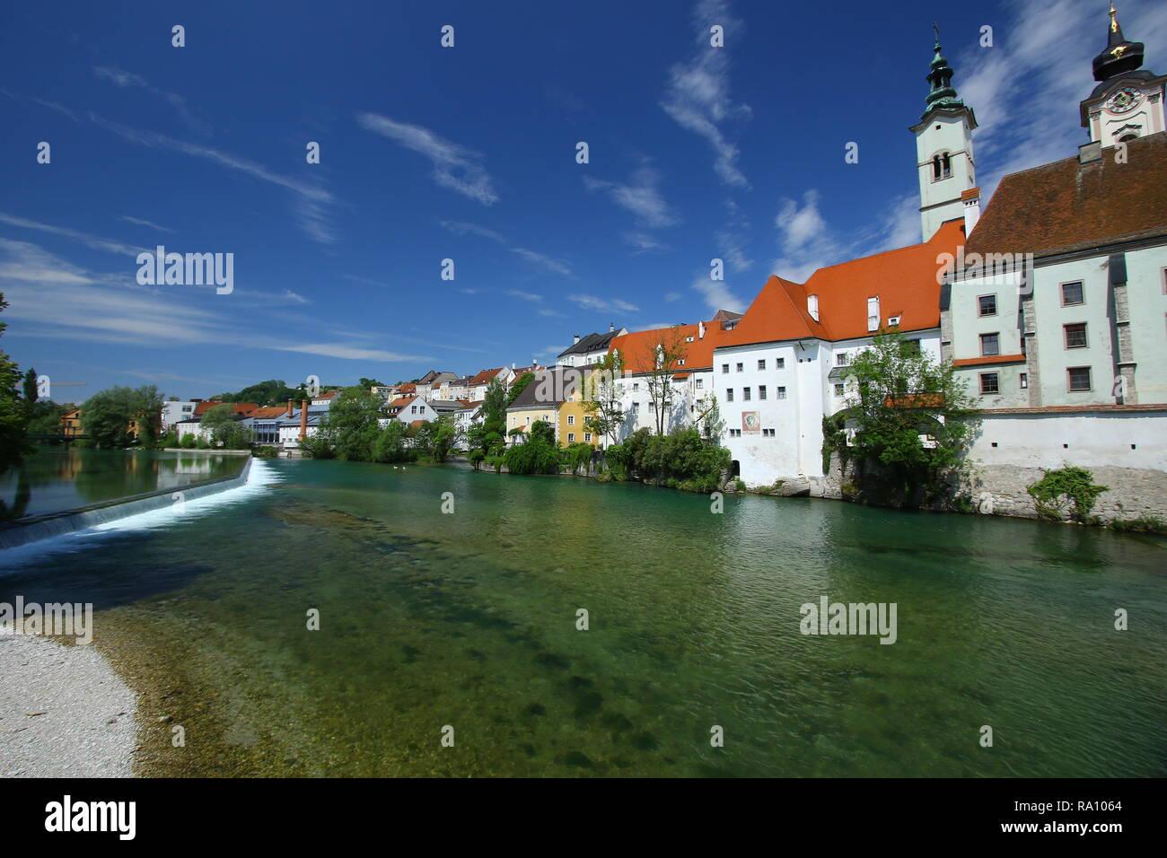 Stadt Steyr in Oberösterreich Geschichte und Natur in perfekter Kombination 2 Flüsse hier treffen Stockbild