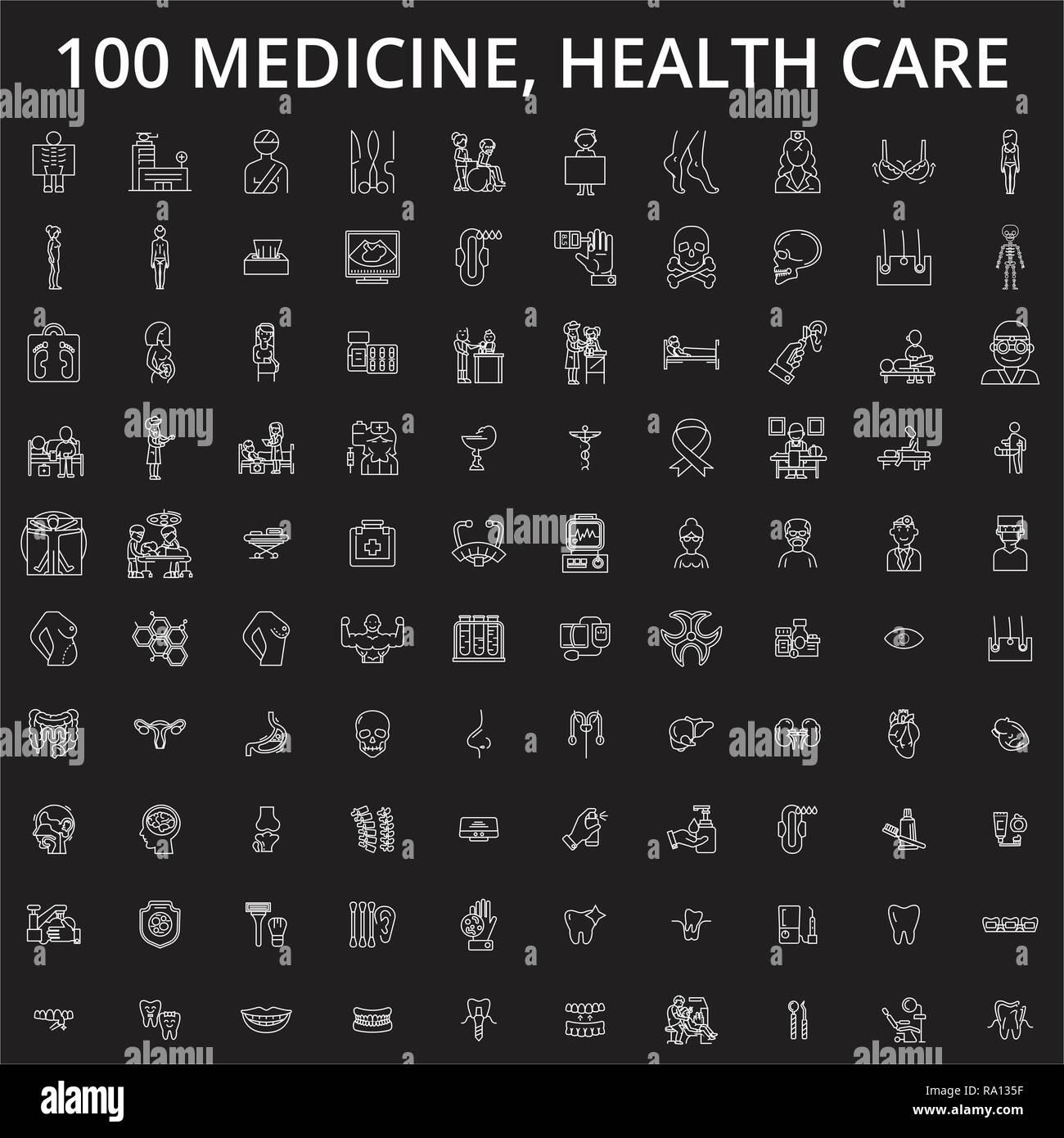 Medizin, Gesundheitswesen bearbeitbare Zeile Symbole Vektor auf schwarzen Hintergrund. Medizin, Gesundheitswesen weißer Umriss Abbildungen, Zeichen, Symbole Stock Vektor