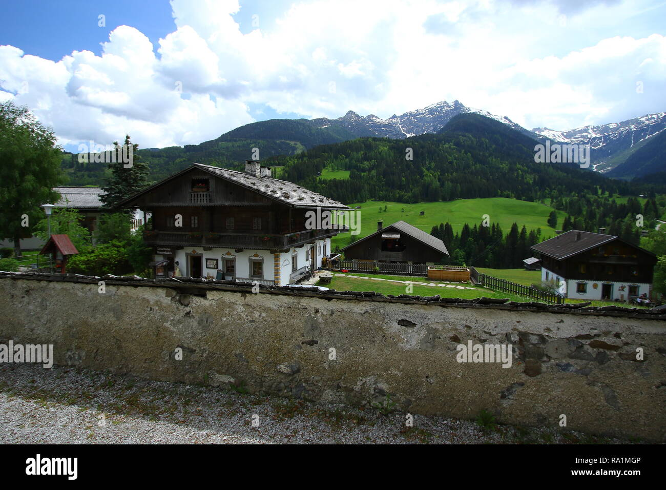 Lesachtal in Kärnten. Zusammen mit den Dörfern von Liesing, Maria Luggau, St. Jakob, Birnbaum und St. Lorenzen. Wild Österreich Europa. Stockbild