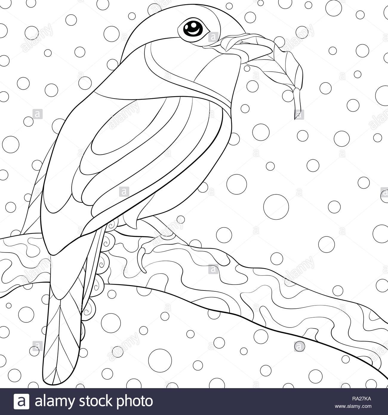 Ein netter Vogel auf dem Brunch mit Ornamenten Bild für entspannende ...