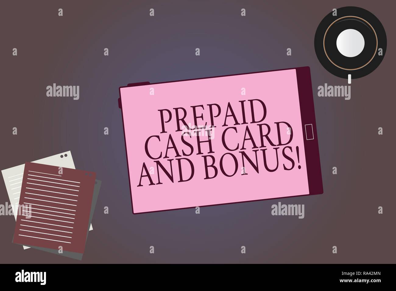 prepaid karte für tablet Konzeptionelle Hand schreiben Übersicht Prepaid Cash Karte und
