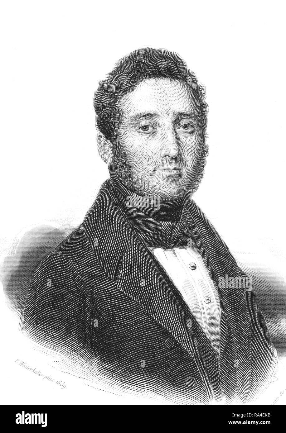 Pierre Amedée Jaubert, 1779-1847, französischer Entdecker und Orientalist, 1844, Frankreich Stockbild