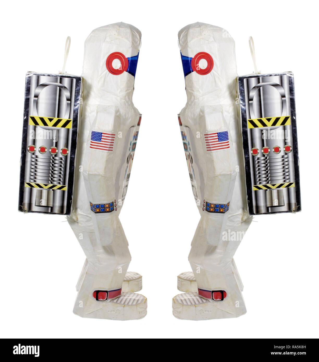Raumfahrer Spielzeug auf weißem Hintergrund Stockbild