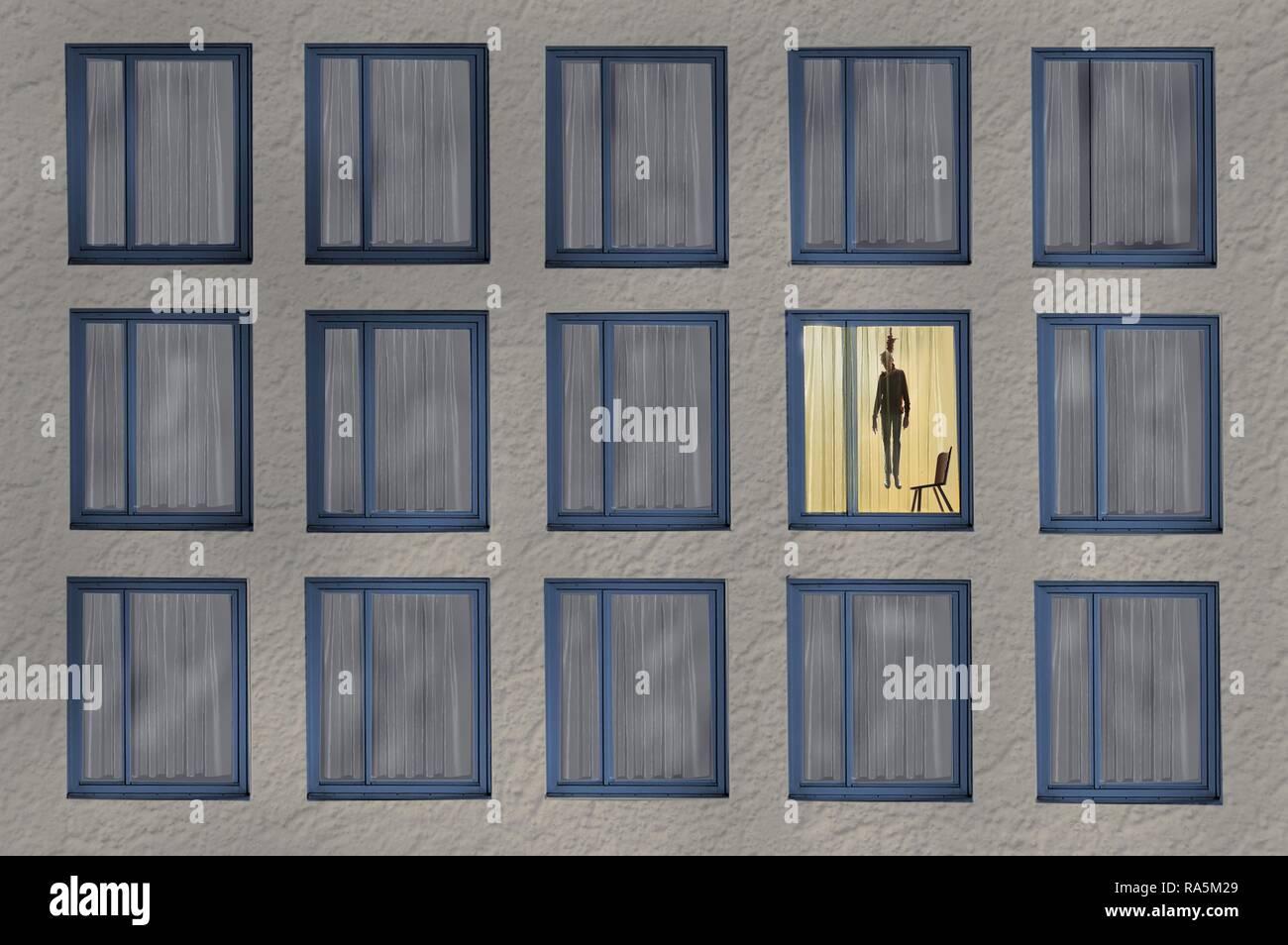 Digital erzeugten Symbol Bild für Einsamkeit, Selbstmord in einem Mehrfamilienhaus, Deutschland Stockbild