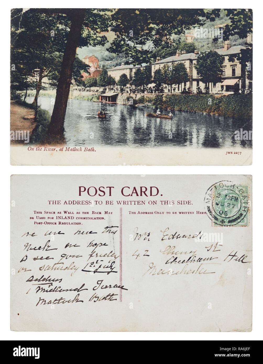 Postkarte gesendet von 1 Midland Terrasse, Matlock Bath zu Frau Edwards, 42 Cherry Street, Cheetham Hill, Manchester im Juli 1905 Stockbild