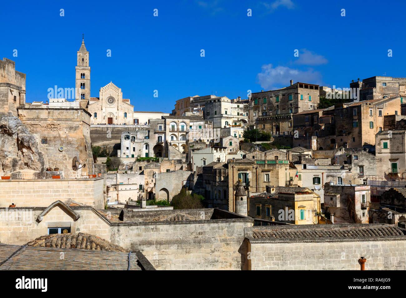 Mittelalterliche Altstadt, Sassi di Matera, Kulturhauptstadt 2019, Matera, Basilikata, Italien Stockbild